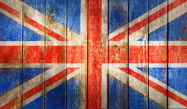 在木篱芭的难看的东西英国旗子 免版税库存图片