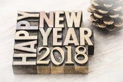 在木类型的新年快乐2018年 免版税图库摄影