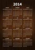 2014在木纹理的日历 库存照片