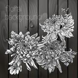 在木纹理的美丽的花。 库存照片