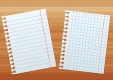 在木纹理背景的两板料纸  免版税库存照片