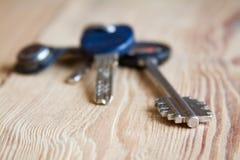 在木纹理背景的钥匙圈束 库存照片