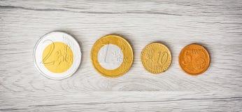在木背景、欧元和分的巧克力金钱 免版税图库摄影