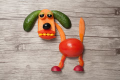 在木背景做的疲乏的菜狗 库存照片