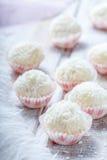 在木背景关闭的椰子芯片洒的自创白色块菌糖果点心  可口巧克力果仁糖 免版税图库摄影