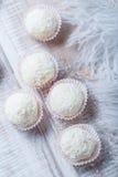 在木背景关闭的椰子芯片洒的自创白色块菌糖果点心  可口巧克力果仁糖 库存照片