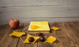 在木背景的一个书苹果黄色叶子栗子 库存照片