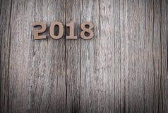 在木背景的图2018年 免版税图库摄影