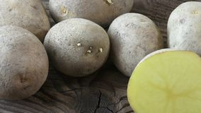 在木背景的土豆 影视素材