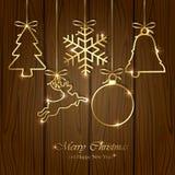 在木背景的圣诞节元素 免版税库存照片
