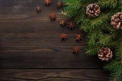在木背景的圣诞节构成与树、杉木锥体和八角 库存照片