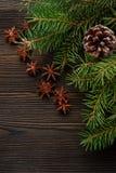 在木背景的圣诞节构成与树、杉木锥体和八角 免版税库存图片