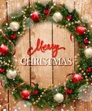 在木背景的圣诞节花圈 库存例证