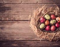 在木背景的复活节彩蛋巢 库存图片