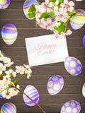 在木背景的复活节彩蛋 10 eps 库存图片