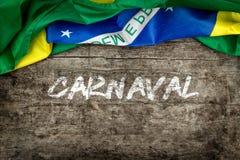 在木背景的巴西旗子 免版税库存图片