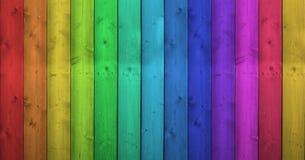 在木背景的彩虹颜色 免版税库存照片