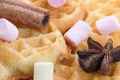 在木背景的心形的曲奇饼,用桂香、茴香和蛋白软糖 免版税图库摄影