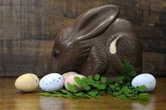 在木背景的愉快的复活节澳大利亚样式巧克力Bilby 免版税库存图片