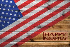 在木背景的愉快的Day总统贺卡 免版税库存图片