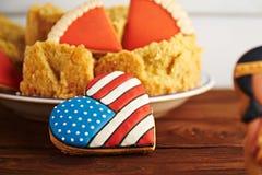 在木背景的感恩甜点 免版税库存图片