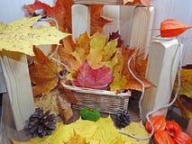 在木背景的抽象秋天构成 免版税库存图片