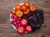 在木背景的新鲜的开胃菜 一种健康生活方式的概念 免版税图库摄影