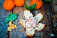 在木背景的新鲜的蜜桔 库存图片