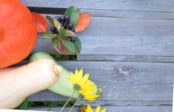 在木背景的新鲜蔬菜 明亮的橙色南瓜,秋天果子背景 季节性秋天的感恩 库存照片