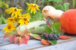 在木背景的新鲜蔬菜 明亮的橙色南瓜,秋天果子背景 季节性秋天的感恩 免版税库存图片