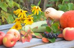 在木背景的新鲜蔬菜 明亮的橙色南瓜,秋天果子背景 季节性秋天的感恩 库存图片