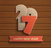 在木背景的新年好2017设计 库存例证