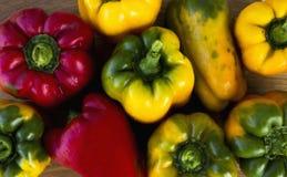 在木背景的明亮,五颜六色,美丽,成熟胡椒 库存图片