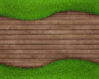 在木背景的春天绿草 免版税图库摄影