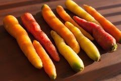 在木背景的未加工的五颜六色的红萝卜菜 库存照片