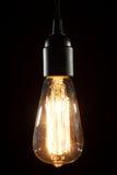 在木背景的爱迪生电灯泡 库存照片