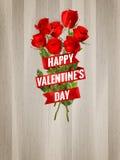 在木背景的玫瑰 10 eps 免版税库存照片