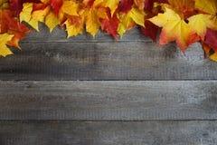 在木背景的秋叶框架 免版税库存照片