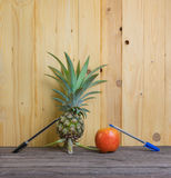 在木背景的笔菠萝苹果计算机笔 免版税库存照片