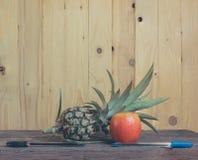 在木背景的笔菠萝苹果计算机笔 免版税库存图片
