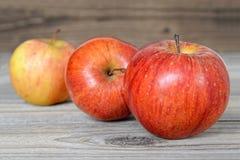 在木背景的红色苹果 库存图片