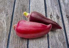 在木背景的红色辣椒粉胡椒 免版税库存图片