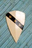 在木背景的纹章学盾 库存照片