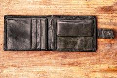 在木背景的老钱包 免版税库存照片