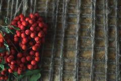 在木背景的花揪与麻线 图库摄影
