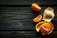 在木背景的蜜桔 新鲜水果 健康的食物 免版税库存图片