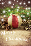 在木背景的装饰圣诞节构成 免版税图库摄影