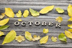 在木背景的题字10月,黄色leav框架  库存图片