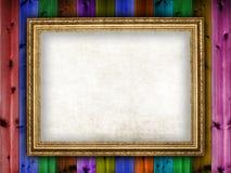 在木背景的画框 图库摄影