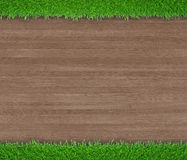 在木背景的绿草 向量例证